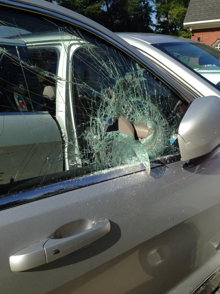 Shown Is The Broken Out Car Window Of One Recent Auto Break Ins In Bainbridge