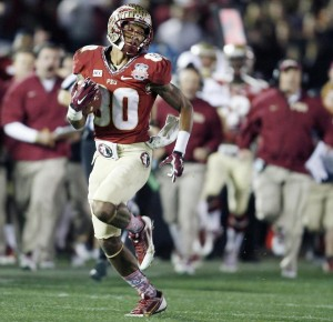 Rashad Greene, a native of Albany, GA catches a pass in the 2013 BCS National Championship Game.  Photo by the Orlando Sentinel.