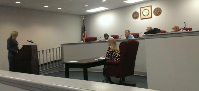 Bainbridge, GA Attorney Jami Lewis addresses the Decatur County Board of Commissioners on Tuesday, Oct. 14, 2014.