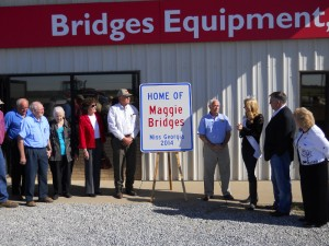 A large version of the road signs now posted across Decatur County recognizing it as the home of Miss Georgia 2014 Maggie Bridges.