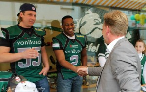 Phillip Gamble, center, was a star running back for the Bielefeld, Germany, Bulldogs. This season, Phillip and his younger brother Darryl will be playing for the Paderborn, Germany, Dolphins.