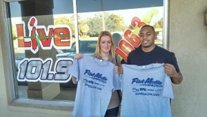 Former Bainbridge Bearcat Phillip Gamble, a pro football player in Germany, came by the Flint Media radio studios on Friday morning, accompanied by his girlfriend, Stephanie.
