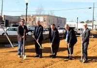 From left to right, Carroll Middleton with Construction CGM, Joe Donofro, architect with Donofro Architects; Shawn McGee, BSC VP of Business and Operation/ interim Executive Vice President; Mayor of Donalsonsville, Dan Ponder; and Seminole County School Superintendent, Monroe Bonner, break ground Monday afternoon at Bainbridge State College's Donalsonville site.