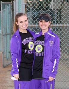 Bainbridge High School girls tennis teammates Mallie Rollins, left, and Taylor Greene, right. | Photo by Lee Greene