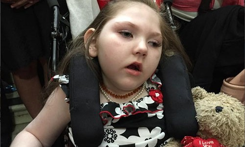 "Haleigh Cox, who the Georgia law known as ""Haleigh's Hope Act"" is named for. The young Cox is the first recipient of a card allowing her to receive cannabis oil for medical use in Georgia. Governor Nathan Deal passed Haleigh's Hope Act into law on April 16, 2015."