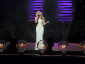 Miss Georgia 2014 Maggie Bridges sings a solo during the Miss Georgia 2015 preliminaries on June 18, 2015.