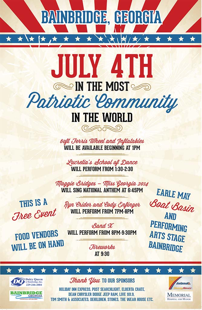 Bainbridge 4th of july music fireworks food and fun july 4th poster bainbridge aloadofball Images