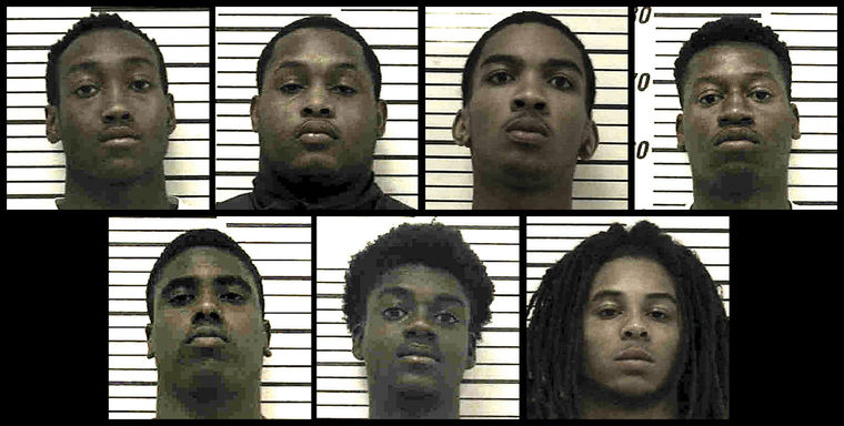 """Seven Colquitt County teenagers have been charged with murder and other offenses in connection with the death of Norman Park resident John Hester Sr. Top row, from left, are Adrian Lyryan Robinson, 19; Brandon Quanterrious """"Brad"""" Wynn, 18, 4520 U.S. Hwy. 319 N.; Christian Savion Glover, 18, 1515 Fourth Ave. N.E. Apt. L5; and Derrick Demond Phillips, 18, 4520 U.S. Hwy. 319 N.. Bottom row, from left, are I-Key Tumazs Pinkins, 18 429 Sunrise Ave.; Ty'Cameron La'Darius Hayes, 18, 1515 Fourth Ave. N.E. Apt. E3; and Tykerious Raheem """"Grumpy"""" Jones, 17, 129 Charm St. Apt. 6, Norman Park.   Colquitt County Sheriff's Office"""