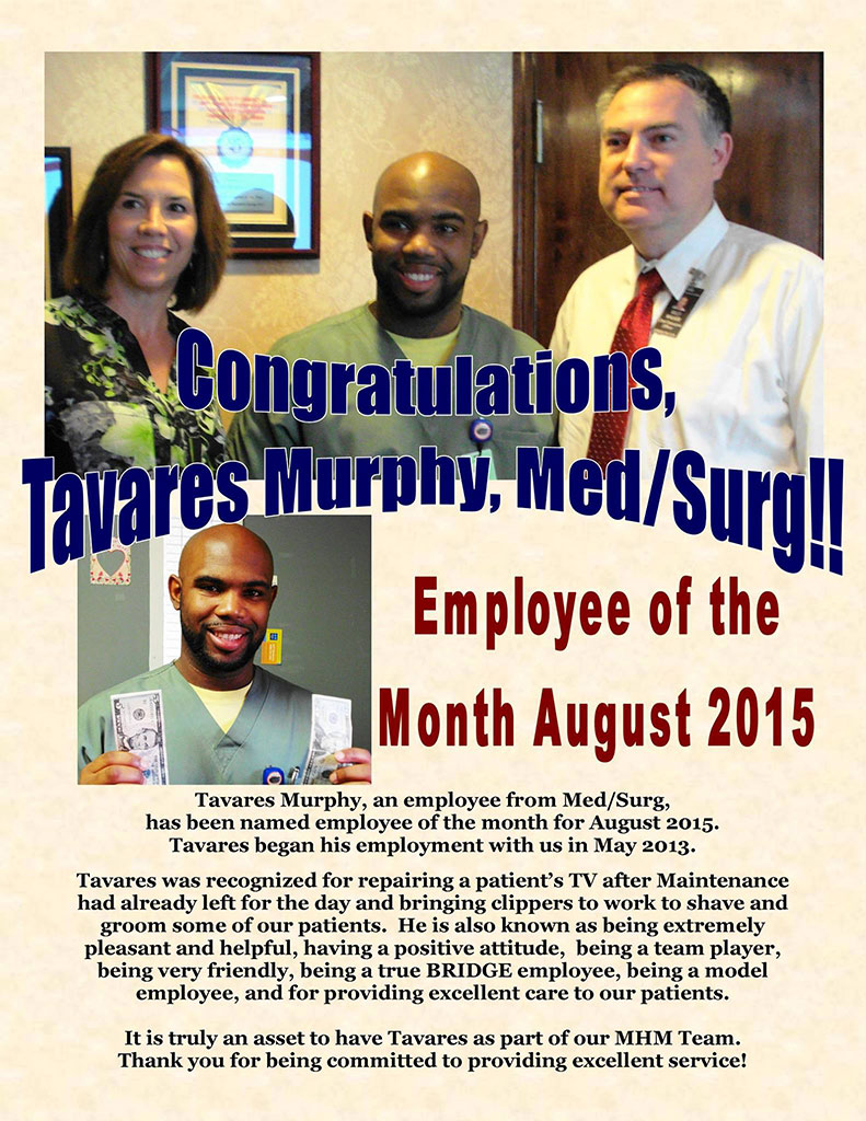 Tavares Murphy named Memorial Hospital Employee of the Month