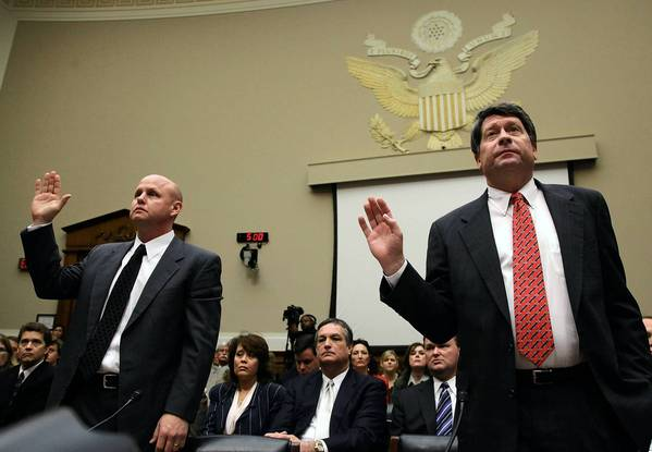 Peanut Corp. of America executives Samuel Lightsey, left, and Stewart Parnell right, appeared before a U.S. Congressional Hearing in 2009.