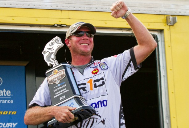 Brandon McMillan of Clewiston, Fla., is the winner of the Bassmaster Open on Lake Seminole on October 24, 2015.