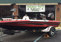 The new BassCat boat won by Bainbridge anglers Clint Brown and Terry Stevens by placing first in the Reel Money Team Trail championship on Lake Seminole. Clint Brown's wife, Shirah, operates the Toadally Cakes bakery and deli in Bainbridge.