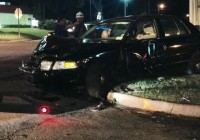 A vehicle accident on Shotwell Street in Bainbridge on the evening of Friday, Nov. 20, 2015 damaged a stop sign and power pole, causing a widespread outage that affected a football game at Centennial Field.