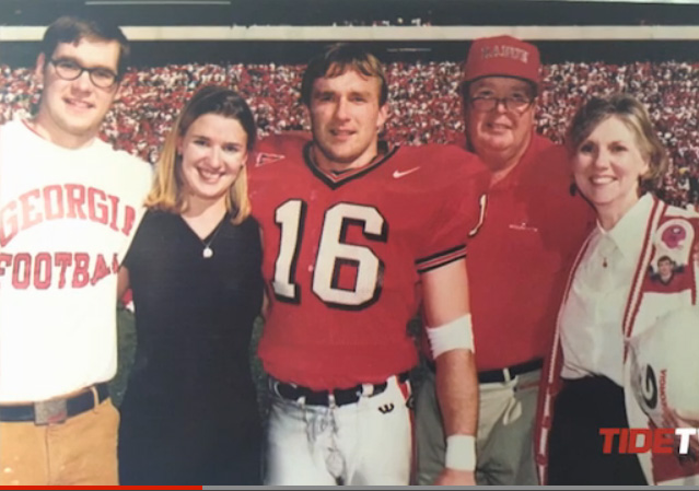 Kirby and his siblings and parents on the field at UGA's Sanford Stadium.