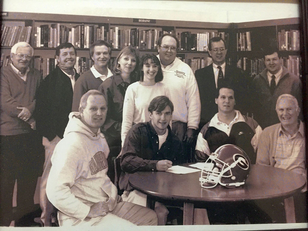 Front row left to right: BHS Asst. Coach Johnny Hayes, Kirby Smart, Coach Mike Jones, and Byron Reynolds. Back row, left to right are: John Grimsley Jr., Ronny L. Turner, Johnny Grimsley, Sharon Maxey Smart, Kendall Smart, Coach Sonny Smart, BHS Principal Donnie Connell and Dr. Charles Walker.